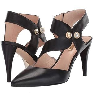 Louise et Cie Black Leather Pearl Detail Heels 9M